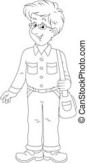 Cheerful young man - Black and white vector illustration of...