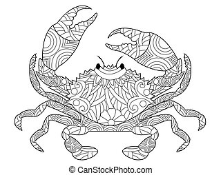 Crab coloring book vector for adults - Crab coloring book...