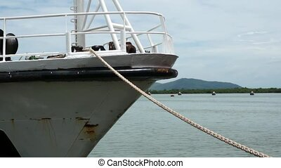 Tied down by Mooring Line. Ship Bow - Tied down by Mooring...