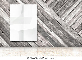 room with hanging blank crumpled white poster at diagonal wooden wall and marble floor room,Template Mock up for your content