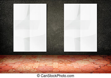 Empty room with hanging blank crumpled white poster at black stone wall and vintage pattern brick floor,Template Mock up for display of your content