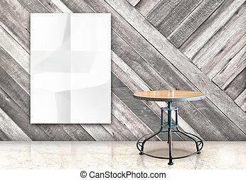 room with hanging blank crumpled white poster and wooden table at diagonal wooden wall and marble floor room,Template Mock up for your content