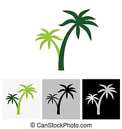 Coconut palm tree icons or symbols of travel - vector graphic