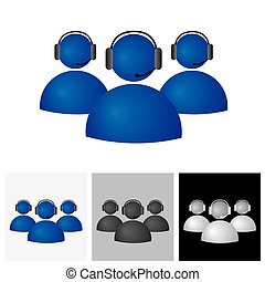 Customer support or helpdesk team with headphone - vector icon