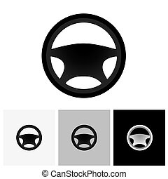 Car, vehicle or automobile steering wheel icon or symbol -...