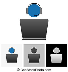 Customer support or front office worker & laptop - vector graphic