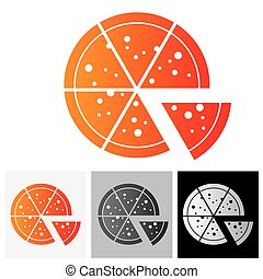 Pizza icon slices arranged beautifully - vector icon. The...