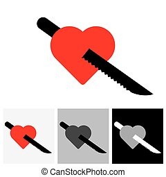 Red heart and knife icon showing love of food - vector...
