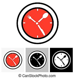 Lunch hour, food time, dinner time - concept vector illustratio