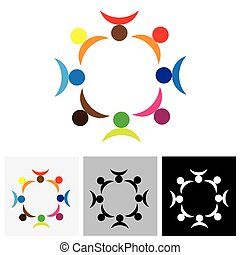 colorful people vector logo icon in circle representing team and teamwork