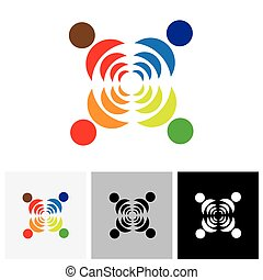 Abstract colorful people vector logo icon showing close...