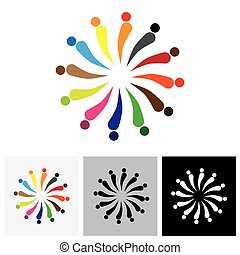 Abstract colorful happy people logo icons in circle