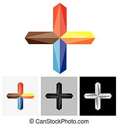Abstract creative plus vector logo icon ( positive sign )....