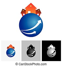 House home or residence vector logo icon on a planet The...