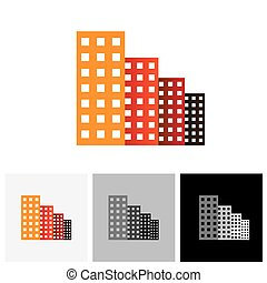 Colorful commercial buildings, offices, apartments vector...