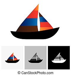 Colorful sailboat or yacht vector logo icon The also...