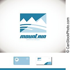 Blue mountain rectangle logo