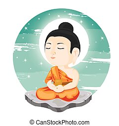 illustration. Buddha sitting on rock.