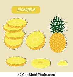 pineapple on white background. Vector illustration.