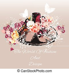 Beautiful fashion vector background with hand drawn bottle of perfume with roses in retro style the world of fashion and design.eps