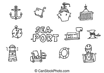 Sea port black icons set with ships and marine transport...