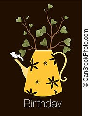 Cute greeting happy birthday card,Teapot with tree and...