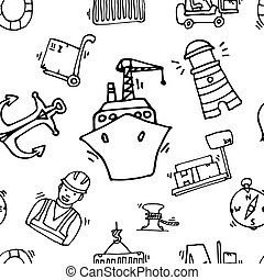 Sea port black icons pattern with ships and marine transport...