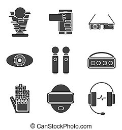 Virtual reality icon set Vector illustration, EPS 10