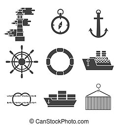 Sea port icons set with anchor container ship lifebelt...