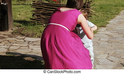 Education walking on nature - Young woman sitting on balance...