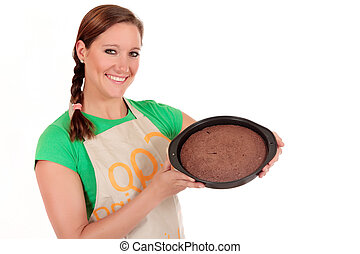 Woman chocolate cake
