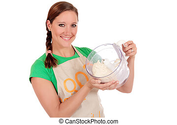 Woman bread dough