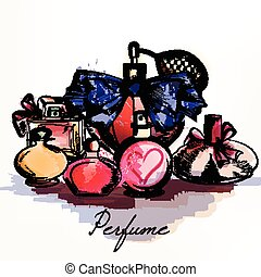 Fashion vector background with perfumes drawn in watercolor style for design