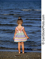 Small girl on the beach in Larnaka, Cyprus
