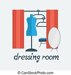dressing room Studio on white background flat - dressing...