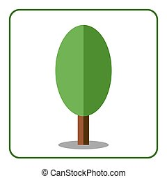 Oak poplar tree icon flat sign - Oak or poplar tree icon....