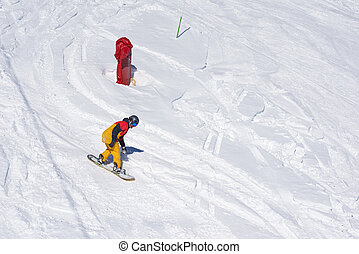 snowboarder avoid obstacles column, top view