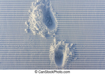 marks on the handles track stripes snow - footprints on the...