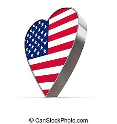 shiny metallic 3d heart of silver/chrome - front surface...