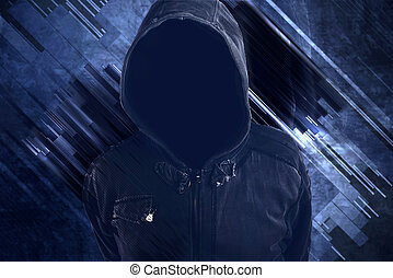 Unrecognizable hooded soccer hooligan portrait, spooky...