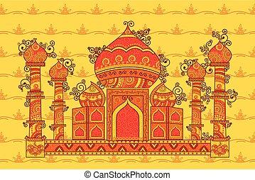 Vector design of Taj Mahal in Indian art style