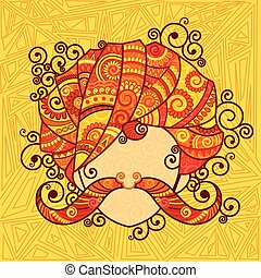 Rajasthani man with turban and moustache - Vector design of...