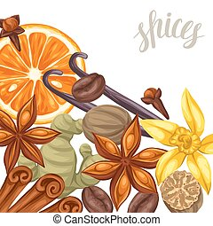 Background design with various spices