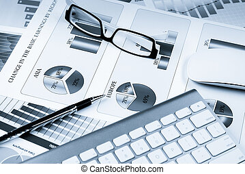 Preparing average sales report - Business workplace with...