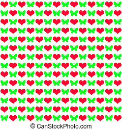 many hearts with butterflies on white - Seamless pattern in...