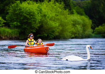 kayak, bambino, madre
