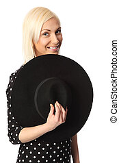 Adorable woman with hat - Cute blonde woman wearing a...