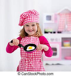 很少, 玩具, 女孩, 廚房, 玩