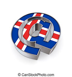 AT-National - Norway - silver shiny chrome @-symbol on white...