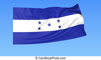 Waving flag of Honduras, seamless loop. Exact size, blue background. Part of all countries set. 4K ProRes with alpha